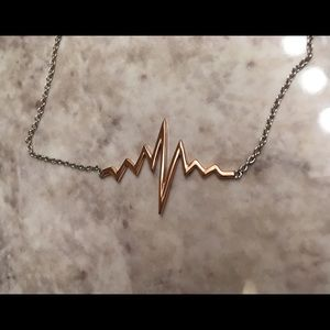 Silver 2 Tone Rose Gold Plated Heartbeat Necklace